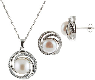 Splendid Pearls Silver 7-7.5Mm Freshwater Pearl Necklace & Earrings Set