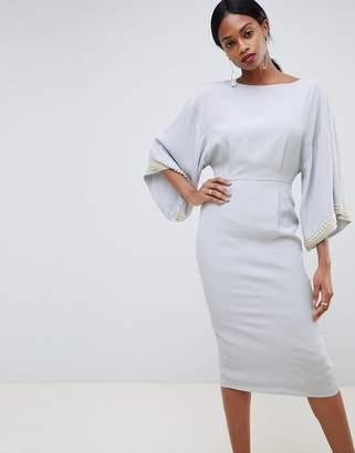 Asos Design DESIGN kimono midi dress with embellished trim