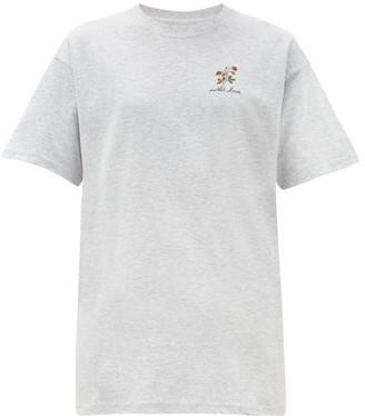 Raey X Cressida Jamieson Wild Love-embroidered T-shirt - Womens - Grey