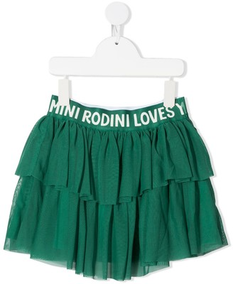 Mini Rodini Logo-Print Pleated Skirt
