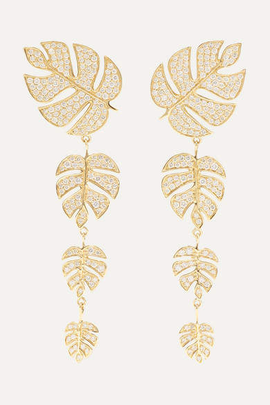 Sydney Evan Monstera Leaf 14-karat Gold Diamond Earrings