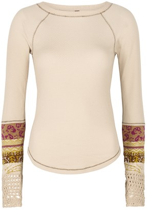 Free People In The Mix cream waffle-knit cotton-blend top