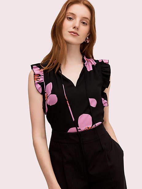 Kate Spade Grand Flora Tie Neck Shell, Black - Size XXS