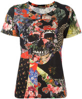 Alexander McQueen floral skull tablecloth print T-shirt - women - Cotton - 40