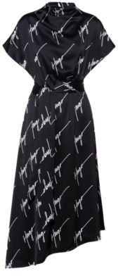 HUGO BOSS Handwritten-logo-patterned dress with detachable hairclip