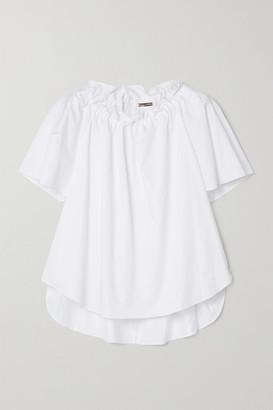 Adam Lippes Gathered Cotton-poplin Blouse - White