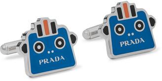 Prada Robot Silver-Tone And Enamel Cufflinks
