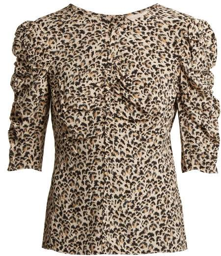 Rebecca Taylor Ruched Leopard Print Silk Blouse - Womens - Animal