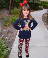 Beary Basics Navy Reindeer Top & Plaid Reindeer Leggings - Toddler & Girls