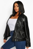 Thumbnail for your product : boohoo Plus Faux Leather Zip Biker Jacket