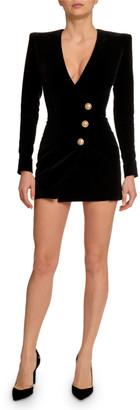 Balmain Golden-Button Velvet Fitted Mini Dress