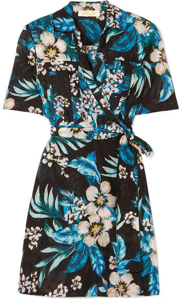 Diane von Furstenberg Floral-print Cotton And Silk-blend Mini Wrap Dress - Black