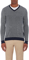 Michael Kors Men's Cotton Birdseye-Stitched V-Neck Sweater-NAVY
