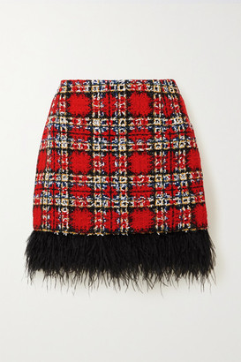 Halpern Feather-trimmed Checked Tweed Mini Skirt - Red