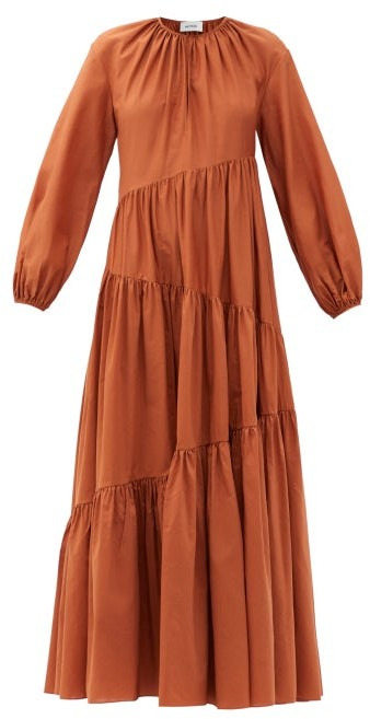 Matteau The Asymmetric Tiered Cotton-blend Maxi Dress - Camel