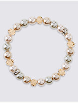 M&S Collection Pearl Effect Sparkle Stretch Bracelet