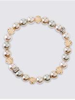 M&S Collection Pearl Effect Sparkle Stretch Bracelet