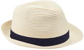 John Lewis Packable Braid Trilby Hat, Beige
