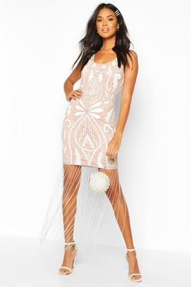 boohoo Bridesmaid Hand Embellished Tassle Hem Maxi