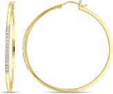 Catherine Malandrino 1/7 CT TW Diamond 18K Gold-Plated Silver Thin Hoop Earrings
