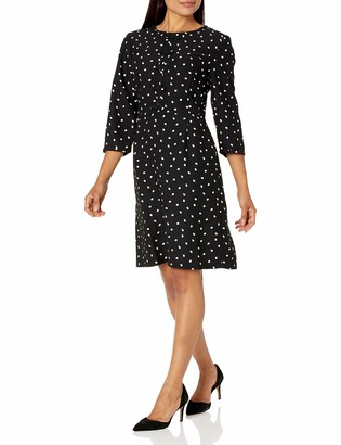Lark & Ro Women's Three Quarter Sleeve Short Dress with Round Neck and Bow Detail