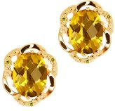 Gem Stone King 2.54 Ct Checkerboard Yellow Citrine and Diamond 18k Yellow Gold Earrings