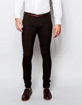 Asos Wedding Super Skinny Suit Trousers In Brown
