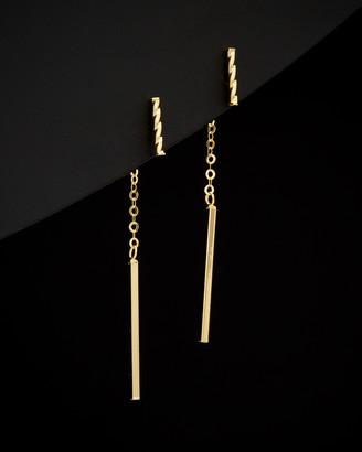 Italian Gold 14K Twisted & Polished Bar Front-Back Earrings
