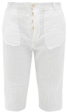 Edward Cuming - Crinkled Cotton-muslin Shorts - Mens - White
