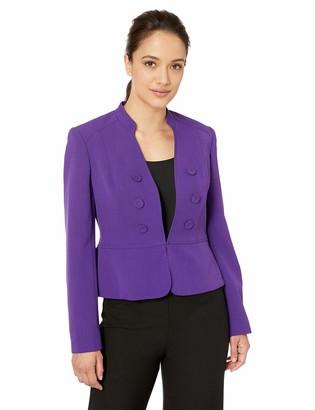 Kasper Women's Petite 6 Button Stand Collar Drapey Crepe Jacket