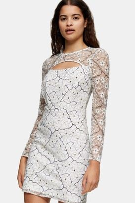 Topshop Womens Lace Bodycon Cut Out Mini Dress - Monochrome