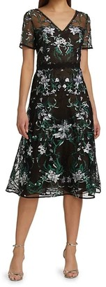 Marchesa Notte Short Sleeve Embroidered Lattice Tulle Cocktail Dress