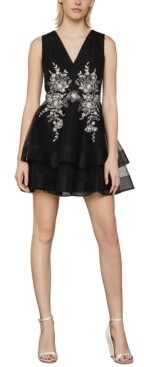 BCBGMAXAZRIA Floral-Embroidered Tulle Dress