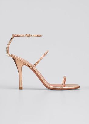 Amina Muaddi Gilda Holographic Embellished Sandals