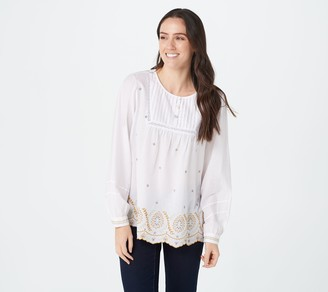 Logo by Lori Goldstein Cotton Woven Blouse with Embroidery