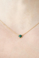 Jennifer Zeuner Jewelry Corina Large Cabochon Necklace with Malachite in Yellow Gold