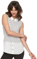 Elle Women's ELLETM Striped Mock-Layer Top