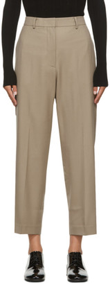 Arch The Beige Cropped Wool Trousers