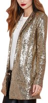 YOLL.Knit YOLL Women's Lapel Collar Punk Sequin Moto Jacket Blazer Suit Cardigan