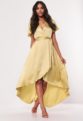 Missguided Lemon High Low Wrap Midi Dress