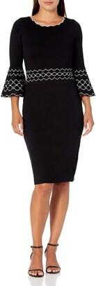 Gabby Skye Women's Petite 3/4 Bell Sleeve Scoop Neck Sheath Sweater Dress