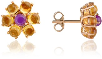 Forzieri Amethyst and Citrine Flower 18K Gold Earrings