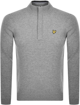 Lyle & Scott Half Zip Knit Jumper Grey