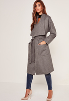 Missguided Brushed Faux Wool Waterfall Coat Grey