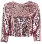 Topshop Sequin bow back top