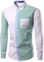 TUNEVUSE Men's Contrast Collar Button-down Shirts Slim Fit Shirt
