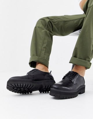 ASOS DESIGN lace up shoes in black faux leather on raised chunky sole