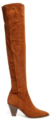 Aquazzura Shoreditch 70 Over-the-knee Suede Boots - Womens - Tan