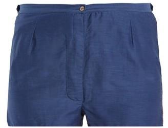 Thierry Colson Jours De Venise Cotton And Silk-blend Shorts - Womens - Navy