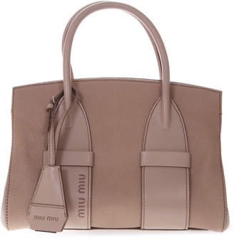 Miu Miu Camel Madras Leather Small Handbag